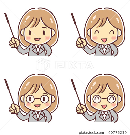 """Deformed illustration of """"teacher-like woman with pointing stick"""" (4 patterns, normal, glasses) 60776259"""