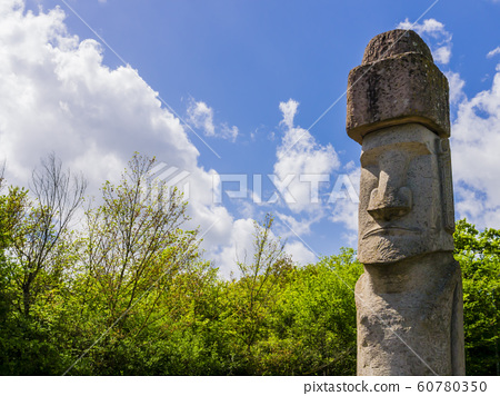 Moai sacred sculpture in Vitorchiamo, Latium region, central Italy 60780350