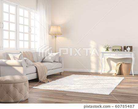 Vintage style living 3d render 60785487