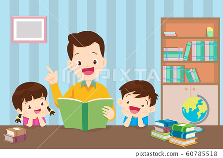 father with children reading book 60785518
