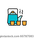 Chinese tea ceremony, kettle and cups flat color line icon. 60787083