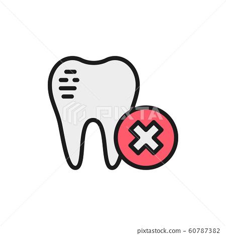 Damaged tooth enamel, dental broken flat color line icon. 60787382