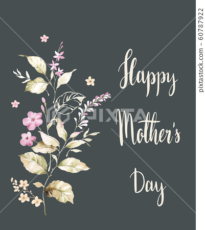 優雅的水彩花和海報賀卡設計 60787922