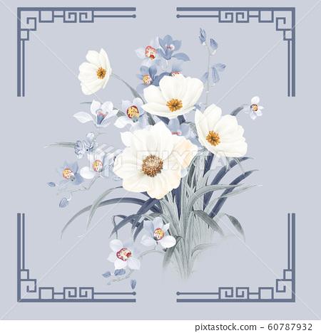 우아한 수채화 꽃과 포스터 인사말 카드 디자인 60787932