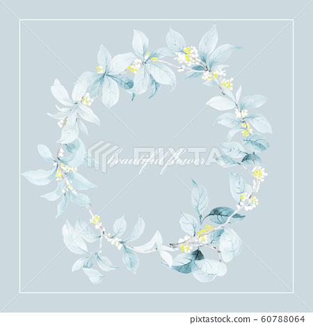 色彩雅緻的水彩手繪花設計和邀請卡設計 60788064