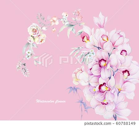 時尚的水彩花卉栽培日本植物,加奈子,海洋 60788149