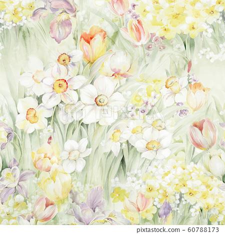 Fashionable watercolor flowers, Japanese plants, Kanako, sea 60788173