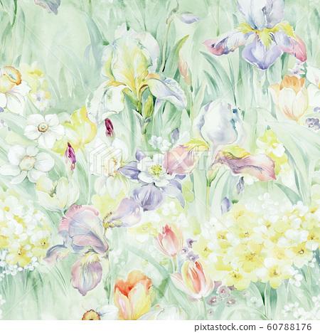時尚的水彩花卉栽培日本植物,加奈子,海洋 60788176