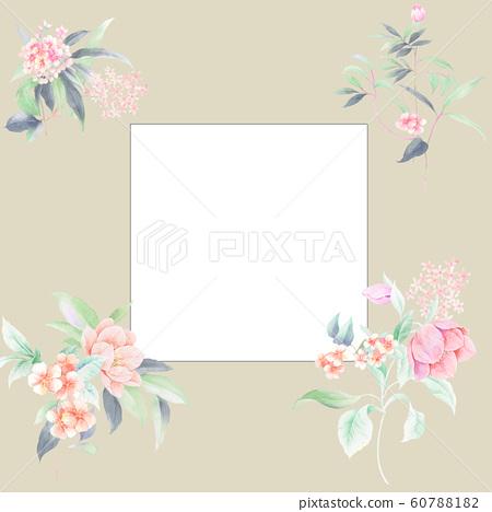 時尚的水彩花卉栽培日本植物,加奈子,海洋 60788182