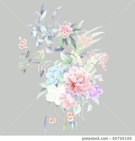 時尚的水彩花卉栽培日本植物,加奈子,海洋 60788188