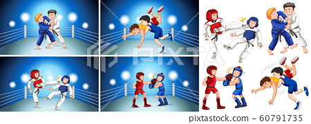 Four scenes of people doing different martial arts 60791735