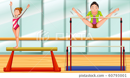 Scene with two girls doing gymnastic in the room 60793001