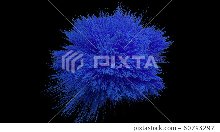 Blue powder ball explosion on black background 60793297