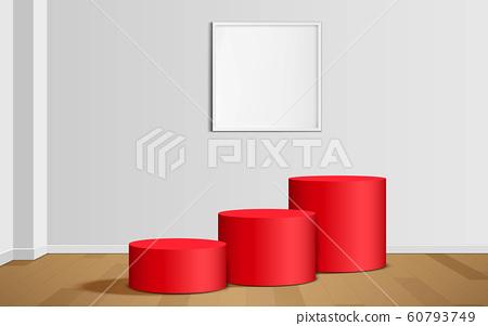 white podium in the white studio room 60793749