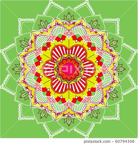 Mandala patterns on green background 60794306
