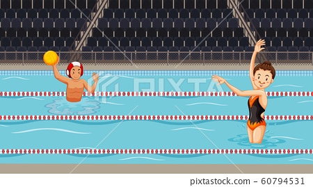 Scene with people doing water sport in the pool 60794531