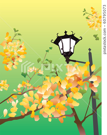Retro landscape illustration of a park with yellow flowers and street lights 60795073