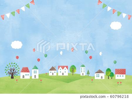 房子和草地水彩藍藍的天空 60796218