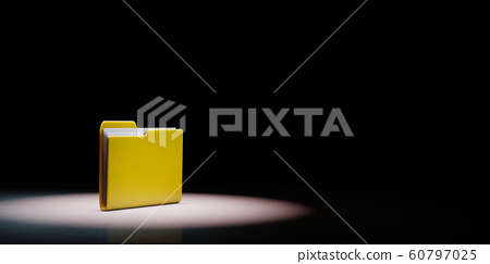 Yellow Document Folder Spotlighted on Black 60797025