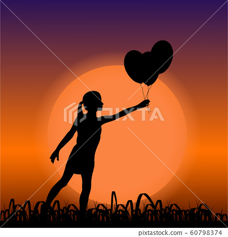 Young girl black silhouette holding air balloons, on sunset background 60798374