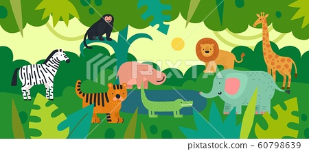 Jungle with animals. Zebra, monkey and hippo, tiger and crocodile, elephant and lion, giraffe with tropical plants. Vector kids background 60798639