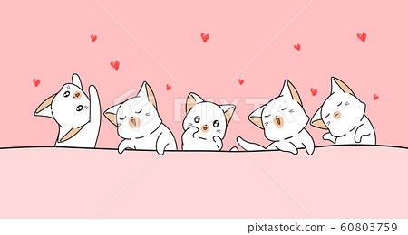Banner kawaii cats are loving with mini hearts 60803759