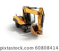 Old yellow excavator 3d ewrnder isolated on white 60808414