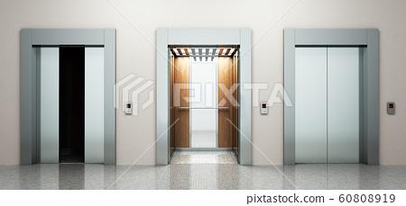 Realistic empty elevators hall interior with 60808919