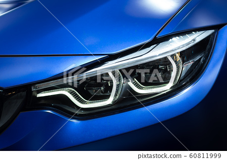 Detail of car LED headlights lamp of new cars 60811999