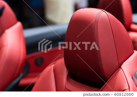 Detail of Luxury red leather car seat in sport car 60812000