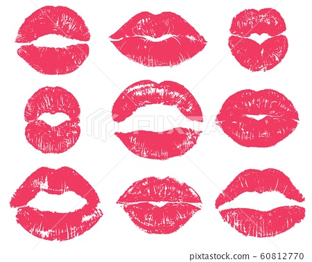 Lipstick kiss. Sexy woman red lips print. Female mouth makeup silhouettes, love smooches romantic valentines isolated vector set 60812770