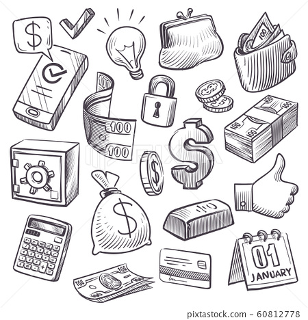 Money and finance sketch. Gold bars, treasure chest and bank safe, dollars sack and falling coins, bills and wallet hand drawn icons vector set 60812778