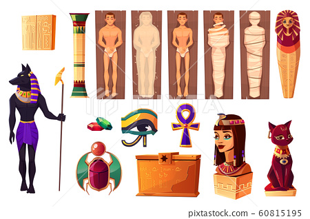 Egyptian attributes of culture and religion set 60815195