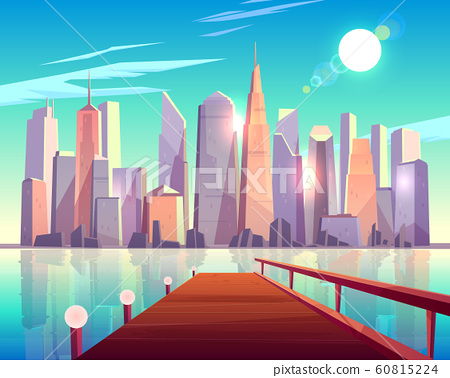 Megapolis city architecture view from wooden pier. 60815224