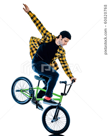 BMX rider cyclist cycling freestyle acrobatic stunt isolated white background 60820768