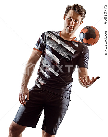 young court handball player man silhouette shadow isolated white background 60820775