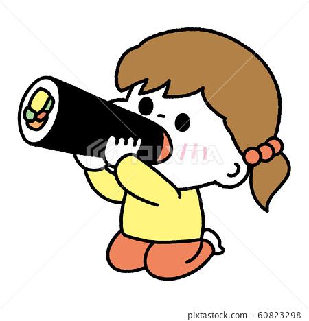 吃Setsubun Ehomaki的女孩 60823298