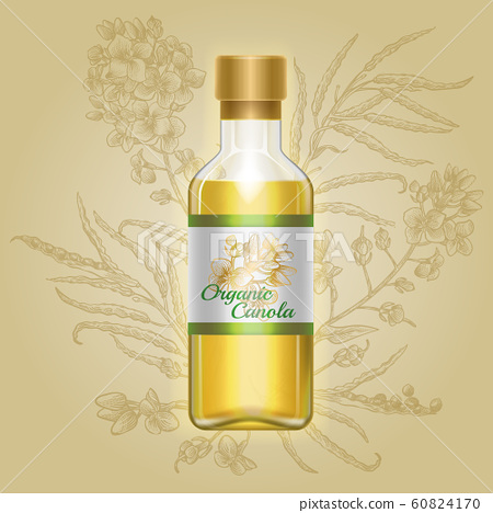 Organic canola, mustard oil in glass bottle 60824170