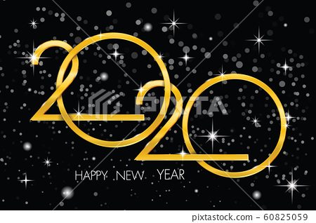 2020 gold text on a black background. illustrator Vector 60825059