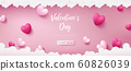 valentine banner as pink pastel theme consist of deep pink and pearl pink colors are in heart shapes 60826039