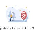 Businessman hitting the target,modern flat design style colorful illustration on white background 60826776