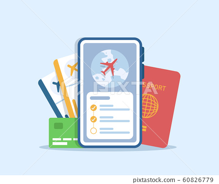 Flight ticket booking,Go Travel Mobile Ticket Booking Concept with Passenger Passports 60826779