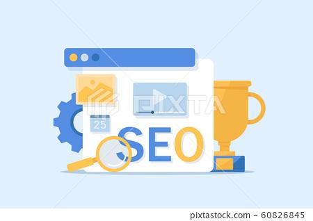 Seo optimization modern flat design,Conceptual web seo illustration 60826845