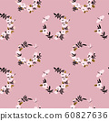 Pink flower wreath seamless pattern 60827636