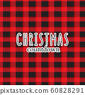 Xmas greeting, winter holidays Xmas countdown text on plaid red black background. Modern Sabta Claus 60828291