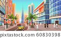 Dubai Street, Cityscape of UAE City Skyline Vector 60830398