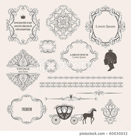 Mega set collections of vintage design elements. 60830832