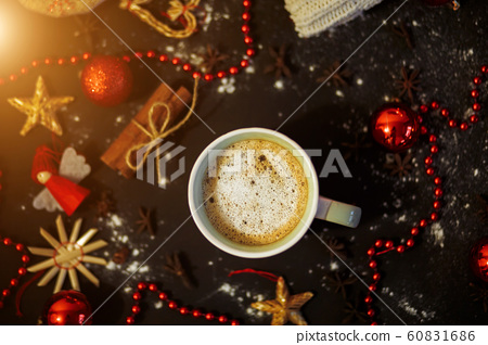 Flat lay of coffee on a black background with red 60831686