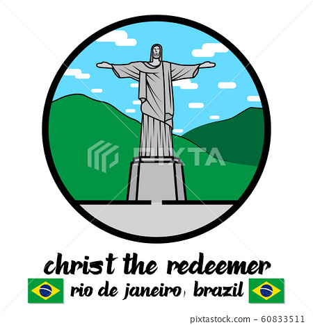 Circle icon Statue of Christ the Redeemer in Rio de Janeiro vector line icon. 60833511