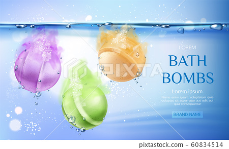 Bath bombs in water, spa cosmetics beauty product 60834514